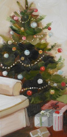 Christmas Art (Balsam Fir Tree by Janet Hill, original oil painting on  stretched canvas, 6 x 12)