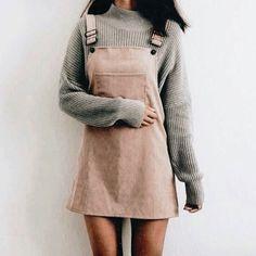 Blushy dungaree dress with a grey knit