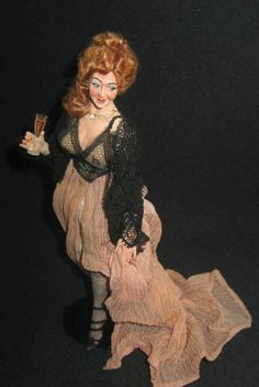 Dollhouse Character Doll by Marcia Backstrom OOAK. - I have this doll- Louise Glass Dollhouse Dolls, Miniature Dolls, Dollhouse Miniatures, Doll Costume, Costumes, Guys And Dolls, Art Dolls, Dolls Dolls, Polymer Clay Miniatures