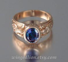 GUARDIAN ANGELS 14k rose gouden ring met Alexandrite door WingedLion
