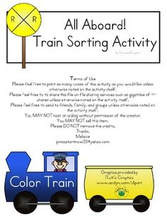 Color Sorting Train Activity - fun for little boys :) - Freebie!