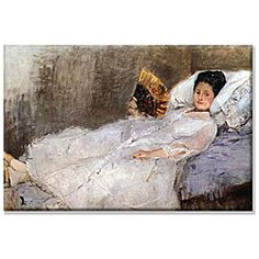 A girl in white reclines with a hand-held fan in this painting by Berthe Morisot. This wall art will complement any decor. Artist: Berthe Morisot Title: Madame Hubard Product type: Canvas Art Style: C Manet, Pierre Auguste Renoir, Berthe Morisot, Painting Prints, Art Prints, Paintings, Canvas Art, Canvas Prints, Garden S