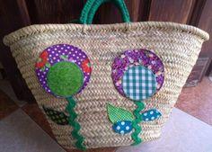 cesta-capazo flores patchwork cesta-capazo cesta-capazo,tejidos,cinta y trapillo cosido a mano,aplicación patchwork