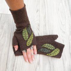 Dark Brown Leafy Fingerless Gloves Felted Wool by GypsyIntent