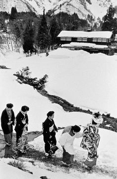 Women going to New Year Celebrations, 1956.  Niigata, Japan.  Photo by Hiroshi Hamaya.