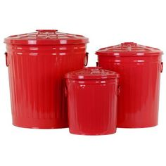 Urban Trends Metal Storage with Classic Garbage Can Design Set of Three Blue Finish: Red