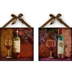 """""""Wine"""" Wall Plaques, Kitchen Wall Decoration Set of 2 NEW Free Shipping  