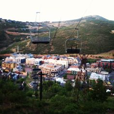 Park City Mountain Resort's Town Lift and a view of Main Street in Park City, Utah.