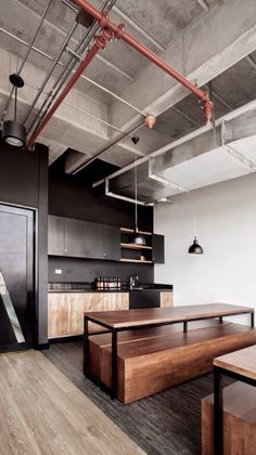 #home #condo #idea #loft #wood #industial #black