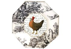 rooster on toile plate - LOVE both! Roosters and toile! Decoupage Plates, Painted Plates, Chicken Painting, Chickens And Roosters, Thing 1, Slipcovers For Chairs, Ceramic Decor, Napkins Set, Diy Craft Projects