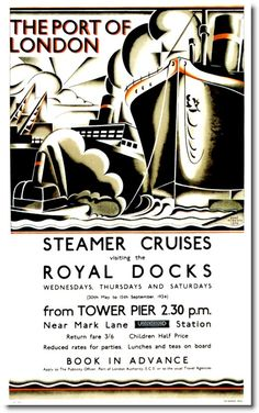 This vintage London underground poster advertises the service to the port of London from Tower Pier This poster is printed using only genuine inks on Posters Uk, Railway Posters, Vintage Advertisements, Vintage Ads, Old Poster, London Transport Museum, British Travel, Travel Ads, Celebrity Cruises