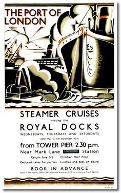 1934-Steamer Cruises. #london, #underground, #tube, #subway, #posters