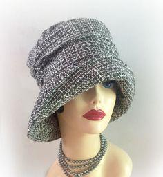 Downton Style Cloche - Black and White Hat - Women's Woolen Fabric Cloche, The Alice