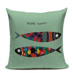Fashion Nordic Style Blue Fish Marine Biology Cushion Cover Sea Whale Home Pillow Case Linen Cotton Pillows Covers Cojines