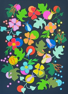 Summer night flowers collage