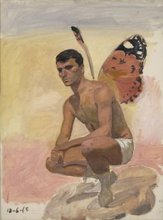Man with butterfly wings sitting on his heels, study from life Two paintings by Greek artist Yannis Tsarouchis among whose homoerotic works can be found obsessively recurrent depictions of . Male Fairy, Fantasy Art Men, Greek Art, Art Database, Human Art, Butterfly Wings, Peacock Butterfly, Gay Art, Figurative Art