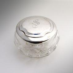 Dresser Jar Sterling Silver And Cut Crystal 1920
