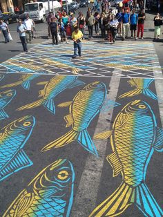 Artist Roadsworth Continues to Transform Streets, Buildings and Sidewalks into a Visual Playground street art Montréal fish birds