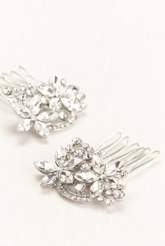 Beautifully detailed hair combs featuring flowers with stunning crystals! Style H427582 at David's Bridal.