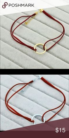 5for$25 Red ring choker Red leather ring choker necklace. Available in gold and silver colors. Jewelry Necklaces