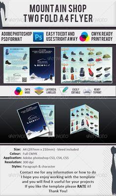 #Mountain Gear Shop A4 2 #Fold Brochure - #Catalogs #Brochures Download here:  https://graphicriver.net/item/mountain-gear-shop-a4-2-fold-brochure/610435?ref=alena994