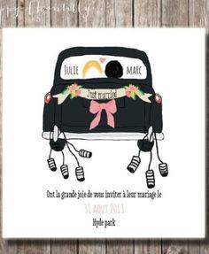 faire part de mariage original voiture taxi londonien - Faire Part Mariage Etsy