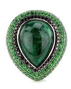 Wendy Yue Black Diamond and Green Garnet Ring Jade center 7.66ct green garnets 18.15ct jade .67ct black diamonds Size 7     at Stanley Korshak       http://www.stanleykorshak.com/infostore/ca.cart.asp?maincat=Jewelry+=DisplayDetails=9893