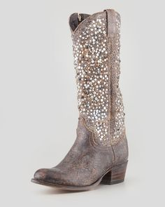 Frye Deborah Studded Vintage Leather Boot, Gray from Neiman Marcus on shop.CatalogSpree.com, your personal digital mall.