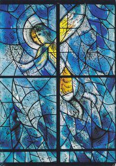 Marc Chagall / Charles Marq. Aufsteigender Engel. Südliches Chorfenster, Pfarrkirche St. Stephan, Mainz.
