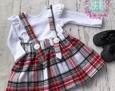 Girl Christmas outfit , set skirt with detachable straps and ruffled sleeves shirt, girl Christmas dress sizes 12-18 to 4 t