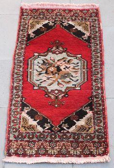 Turkish Rug 18''x37'' Hand Woven Kirsehir Mini Carpet 48x95cm   ID: K0497