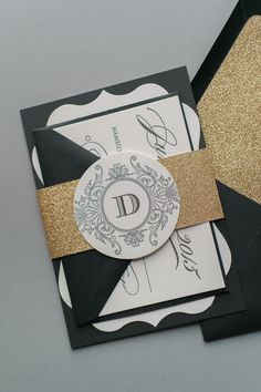 ABIGAIL Suite Fancy Ornate Package, black and gold, gold glitter, black letterpress, die cut invitations, letterpress wedding invitations, unique shaped invitations