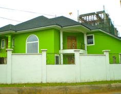 Painted Houses Wonderful Green Painted House A Newly Painted House House Paint Exterior, Exterior House Colors, Green House Paint, Bar Counter Design, Modern Properties, Green Pictures, Mediterranean Homes, Modern Exterior, House Painting