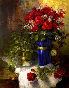 "Oil painting ""Time & Red Roses"" 30""x24"" by artist Nora Kasten"