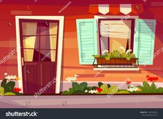 House facade vector illustration of entrance door with glass and window shutter and awning Cartoon bac Facade house Anime scenery wallpaper Cartoon background