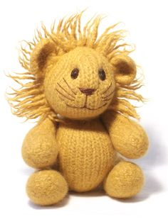This friendly cuddly lion has moving jointed limbs and a fuzzy mane around his sweet smiling face. Each section of the lion is stuffed before felting; The stuffing is compressed as the knitting shrinks to give a plump seamless finish. The mane is also added before felting to give a dense, fuzzy furry finish
