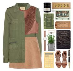 """""""Army Green Coat"""" by lover-of-pie ❤ liked on Polyvore featuring Aveda, Williams-Sonoma, Parker, Tsovet, Velvet, See by Chloé and BillyTheTree"""