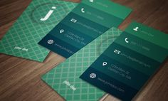 Sea Foam Modern Business Card Templates A simple, elegant and modern vertical business card in a classic palette of sea foam greens and blue by Dream in Color Studio