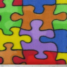 Jigsaw Puzzle Fleece Fabric