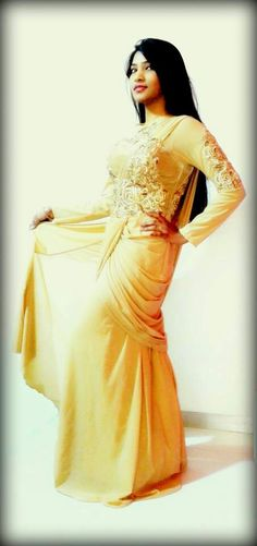 Beautiful saree with amazing bead and gold work. Designed by manchali