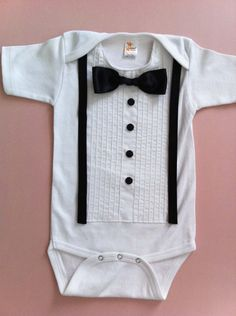 Tuxedo Onesie Formal White with Suspenders by tutusandtuxes. So adorable Onesie Dress, Tie Onesie, Onesies, Handmade Baby Clothes, Diy Clothes, Diy Bebe, Black And White Theme, Baby Couture, Tuxedo Wedding