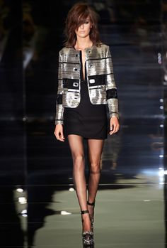 SILVER HORIZONTAL LASER CHAIN APPLIQUE BOXY JACKET