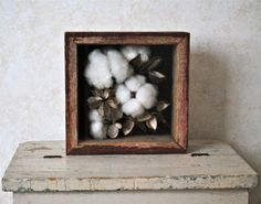 Shadow Box - Natural Cotton Boll Display - Home Decor - Cotton Wedding - Etsy.