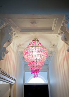 Pink chandelier.