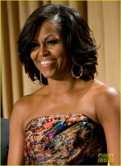 FLOTUS always has beautiful hair.  This would be nice as a natural blow out and curl.