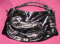 Black Medium Faux Patent Leather Handbag Satchel Purse Shoulder Bag in Clothing, Shoes & Accessories | eBay