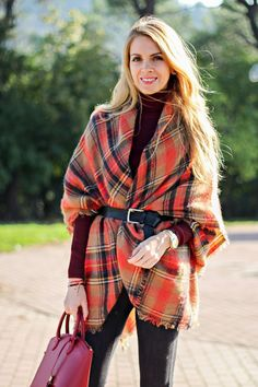 3ed8631b273 Scarf As A Poncho by Karamode How To Wear A Blanket Scarf