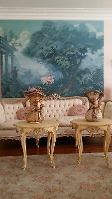 Shabby-Vanilla-Painted-Pair-Vintage-French-Tables-Romantic-Blues-Carving
