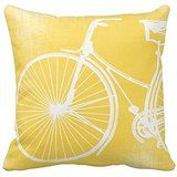 Yellow Bicycle Square Throw Pillow Case Cushion Cover Fashion Home Decorative Pillowcase Cotton Polyester Pillow Cover(45cm x 45cm, Two Sides) by DIY ARTICLE