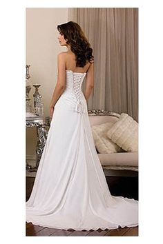 Newly Arrived Backless Satin A-line Wedding Dress with Chic Sweetheart Neckline